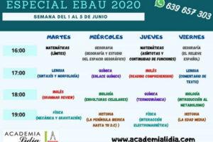 Intensivo EBAU horarios 1 junio 2020